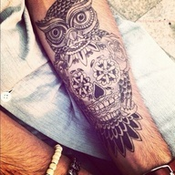 Sugar Skull and Owl Tattoo @Kara Donnelly whaddaya think? Best friend tattoos? Its got both our favorite things ;)
