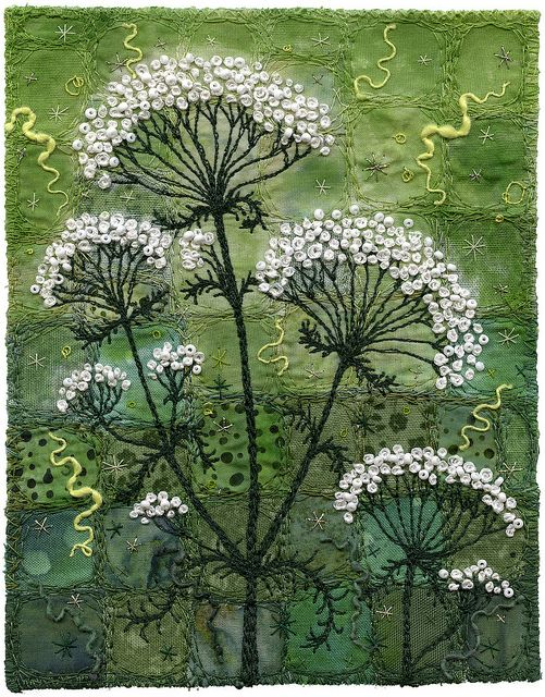 Yarrow - i painted the background in a similar was as the Meadowsweet piece.  I just added some diluted jacquard textile paint to blend the background  a bit more.  I applied the paint with a wet stencil brush and 'pounced' the colour onto the fabric. Kirsten Chursinoff
