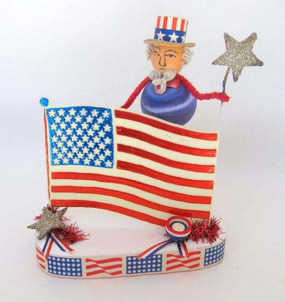 Vintage Patriotic Uncle Sam Decoration Spun Cotton July