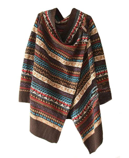 Ethnic Multi Colorful Woollen Cardigans with Stripe Detail #Chicnova Fashion