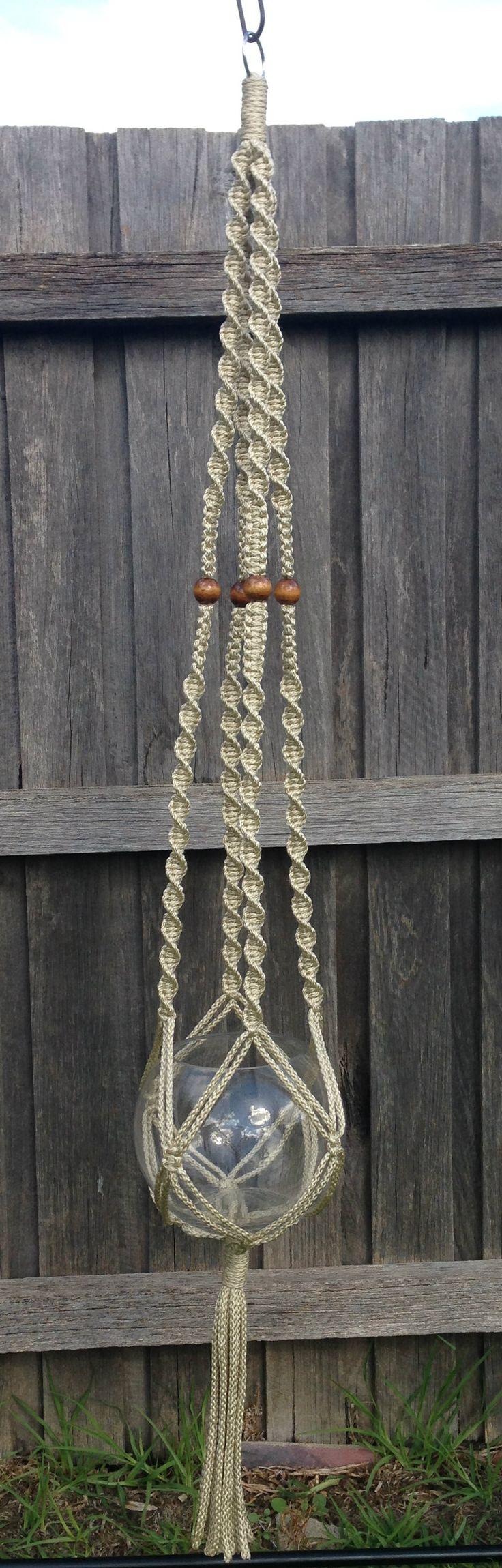 Macramé Hanging Basket - Pearl Beige www.knotsandbrushes.com.au