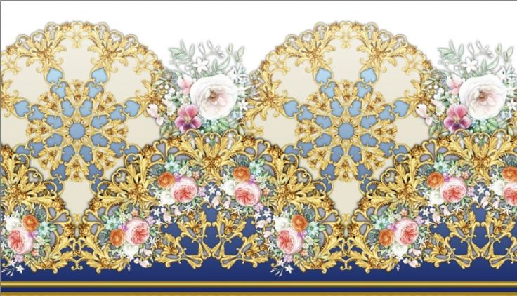 Seamless vintage border with golden scrolls and flowers by Maria Rytova