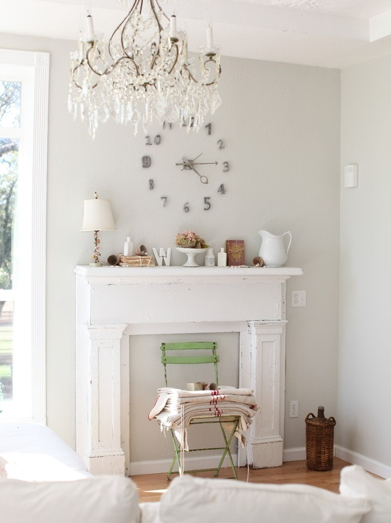 Lovely shabby chic bedroom - love the false fireplace and mantle