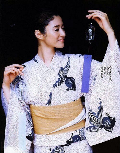 型染めの浴衣 金魚柄  stencil printing yukata  / goldfish pattern