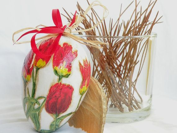 Decoupage egg Decorated egg Floral decor Home decor Spring decor Red flowers Red tulip Hanging egg