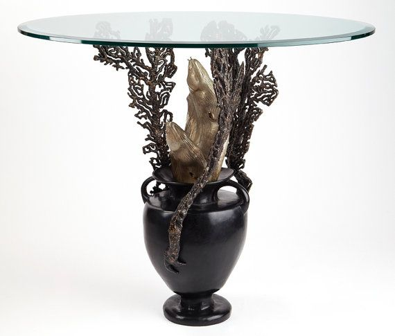 Check out Bronze sculpture amphora with coral & moray eels dining/entry table on kirkmcguiresculpture