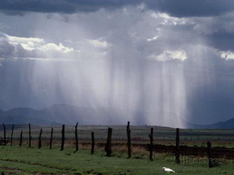 Veils of Rain Stream from Sunlit Clouds over Farmland Fotografie-Druck von George Grall - AllPosters.at