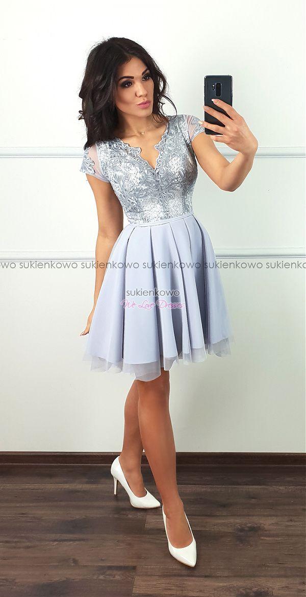 c24a8f82a0d378 Sukienkowo.com - KAYA - asymetryczna sukienka z tiulem i koronką szary z  ecru