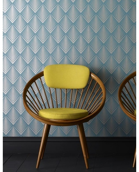 Graham & Brown wallpaper. Soprano in Teal. Oh and look at this chair...