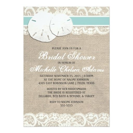 283 best beach bridal shower invitations images on pinterest beach rustic burlap lace bridal shower invitation filmwisefo