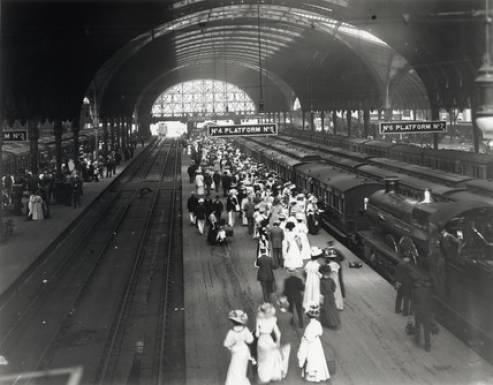 Foto antigua de Paddington Station, Londres, 1908
