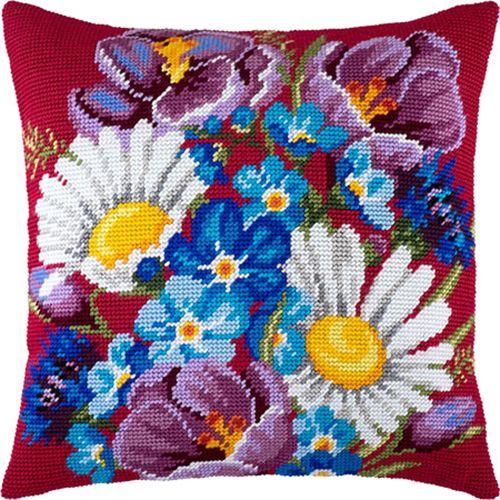 Camomiles pillowcase cross stitch DIY embroidery kit, needlepoint
