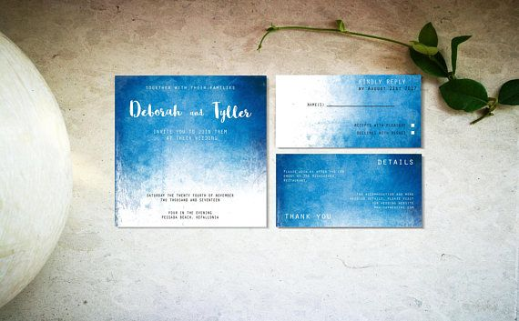 Blue ombre watercolor wedding invitation template Digital
