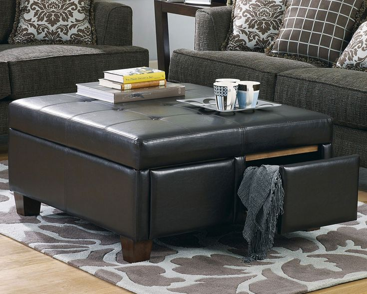 Black Leather Ottoman With Drawer