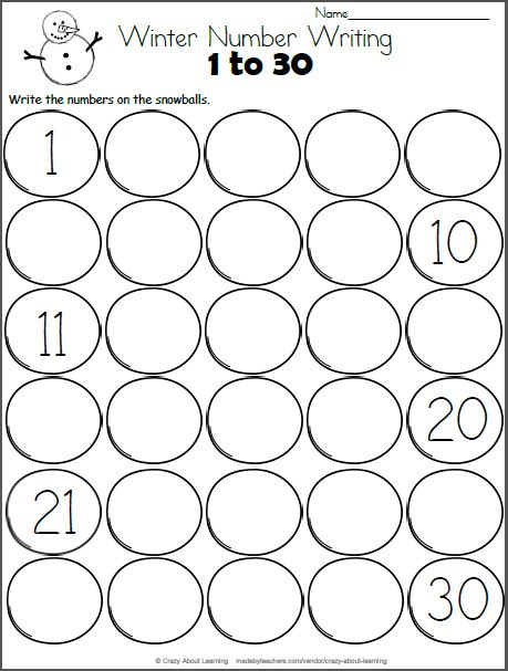 Snowman Math - Write the Numbers to 30