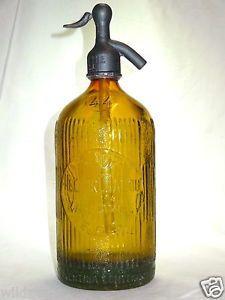 ANCIEN SIPHON JAUNE OR syphon sifone soda water bottle seltzer bar cafe vintage