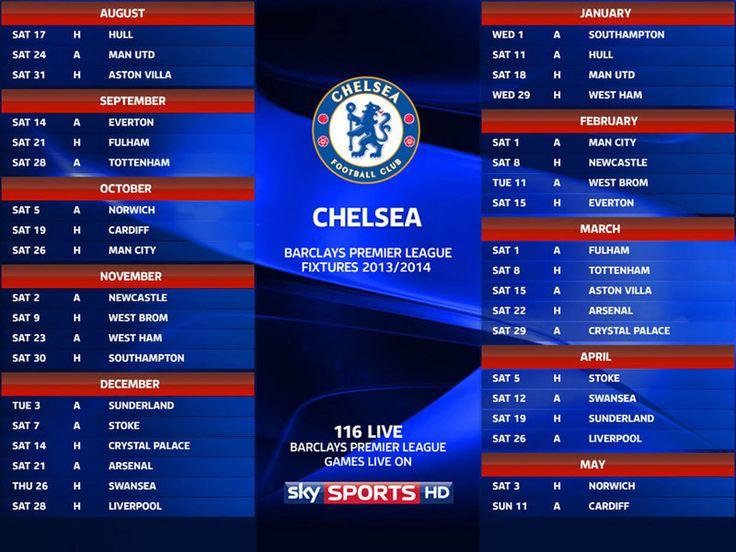 Premier League Fixtures Chelsea 2013/2014