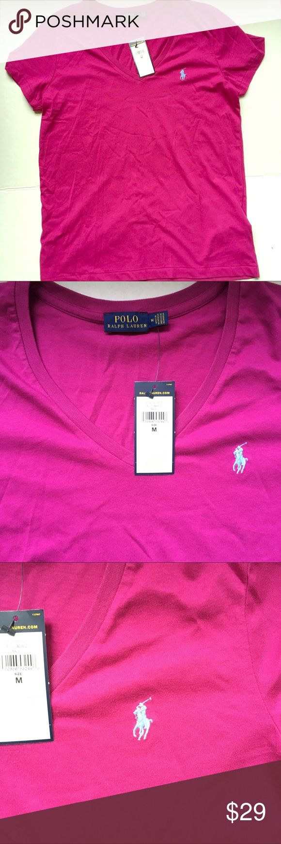💕NEW Ralph Lauren pink v-neck shirt New with tag. Pink/purple colored v-neck t-shirt. Light blue polo emblem.  100% cotton.                                                        🛍BUNDLE=SAVE  🚫TRADE  💯Authentic   🖲USE BLUE OFFER BUTTON TO NEGOTIATE   ✔️Ask Questions Not Answered in Description--Want You to Be Happy! Polo by Ralph Lauren Tops Tees - Short Sleeve