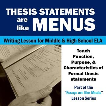 Use a simple analogy to teach students about the purpose and function of thesis statements! Full lesson for middle or high school English class.