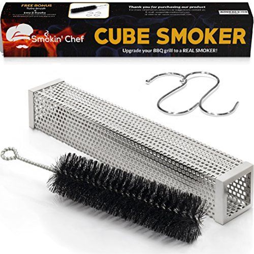 Don't want to buy a pricey, bulky barbecue smoker? GET THE SMOKIN' CHEF CUBE SMOKER!  The perfect solution to turning any grill into a real smoker. WHAT MAKES THE SMOKIN' CHEF CUBE SMOKER SPECIAL? Non-Roller – No rolling or falling off the grill, easy to turn or adjust Durable Materials – 100% Pe... more details available at https://www.kitchen-dining.com/blog/grills-outdoor-cooking/outdoor-fryers-smokers/product-review-for-smokin-chef-cube-smoker-12-inch-wood-pelle