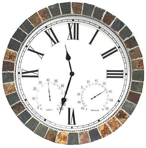 "Unique large wall clocks are an easy way to bring life to a boring space.  In fact large modern wall clocks are extremely popular right now as not only do they look timeless but also serve as large decorative wall art!    Indoor Outdoor Patio and Pool 15"" Wall Clock with Humidity and Temperature Dials is Made of Natural Textured Ceramic Tiles for Home Kitchen and Office Decor / Roman Numeral"