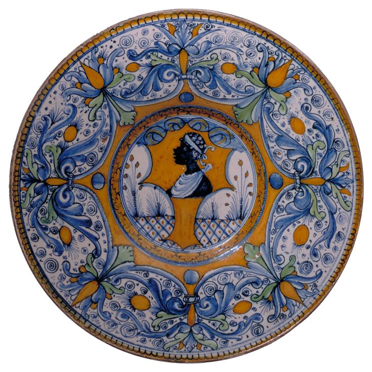 images of moors in paintings | Tin-glazed earthenware plate, Siena or Deruta, Italy, about 1500 ...