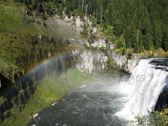 Rainbow over Upper Mesa Falls Print  Photography  by NJSimages, $16.00