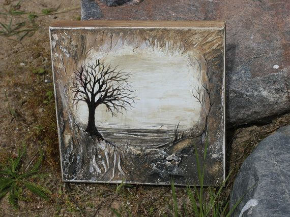 Original acrylic painting with forest design. Made using textures with palette knife. There is used various materials. Acrylic and materials what make cracks for more rustic look. Sides is scratched with sand paper for give ancient look. This is quite small size painting so it will fit in almost any small space what you would like to decorate for make more cozy felling in your home. Nature and trees is always the best choice for any room, hallway or even garage. Why not? Every place…