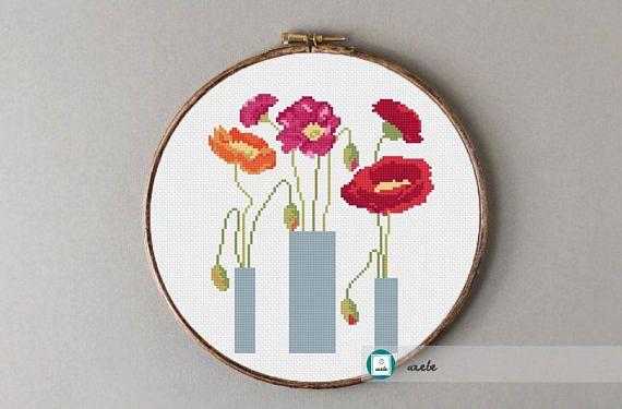 Flowers cross stitch pattern modern cross stitch DIY