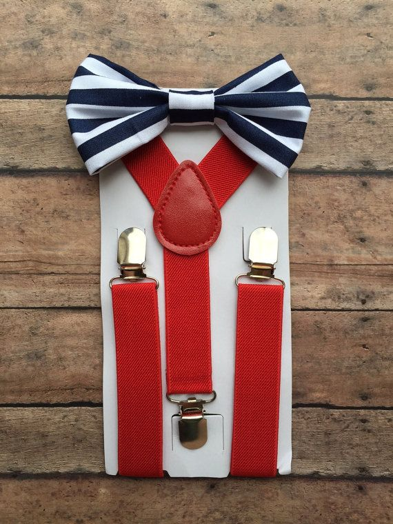 Red White & Blue Suspender Set Red Suspenders by TwicetheCharmShop