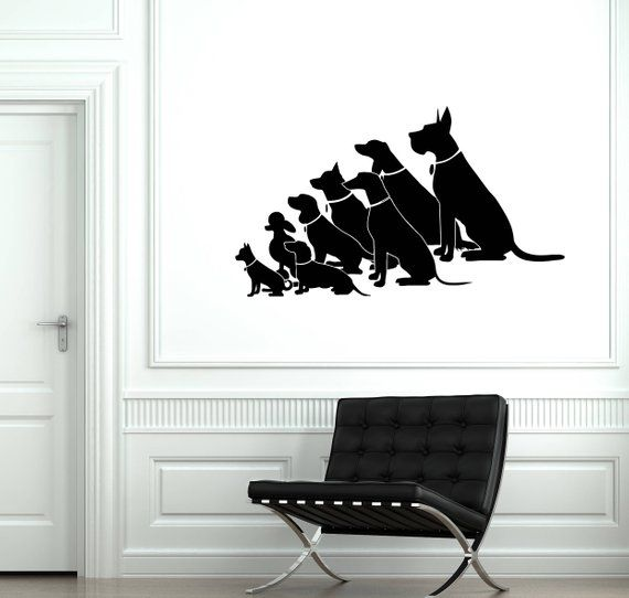 ig2001 Wall Stickers Lady with the Dog Pet Shop Salon Animal Mural Vinyl Decal