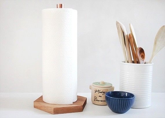 First spotted on one of our favorite blogs, Poppytalk (is Jan the web's best DIY sleuther?): a genius paper towel holder from Molly at Almost Makes Perfect