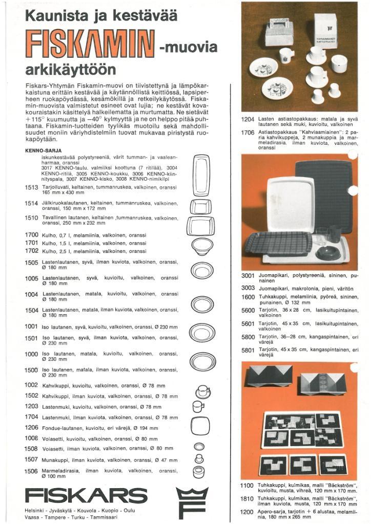 Fiskars Fiskamin brochure from the 1960's.