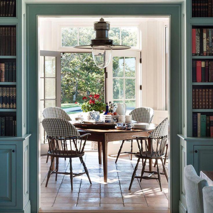 Windsor chair slipcovers in blue & white check in Martha's Vineyard dining room - Mark Cunningham