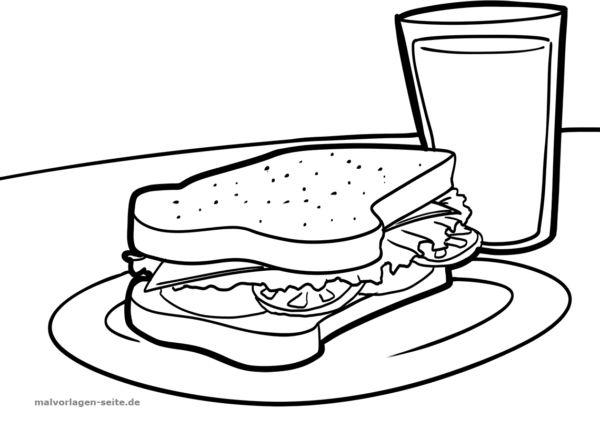 Malvorlage Sandwich | Ausmalbilder, Malvorlagen und Ausmalen