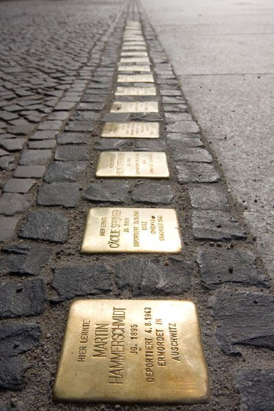 Stolperstein: Gunter Demnig's Cobblestone Memorials | wonderful tribute to Holocaust victims in situ.