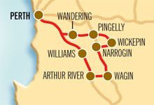 3 Days - Winery, Woodlands and Wheatbelt Trail - Drive through picturesque farmland to Wheatbelt wineries, take superb nature walks and view local nocturnal wildlife and granite outcrops. This self drive is the perfect escape from the everyday.