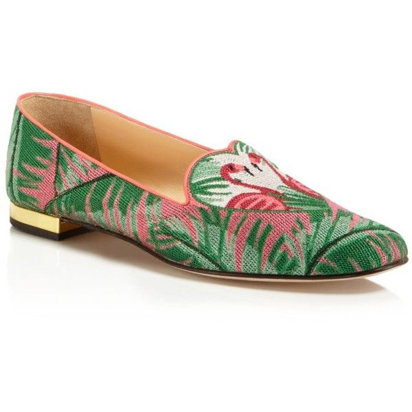 Charlotte Olympia Flamingo Smoking Slipper Flats ($465) ❤ liked on Polyvore featuring shoes, flats, charlotte olympia, pink shoes, charlotte olympia shoes, green flats and smoking slipper flats