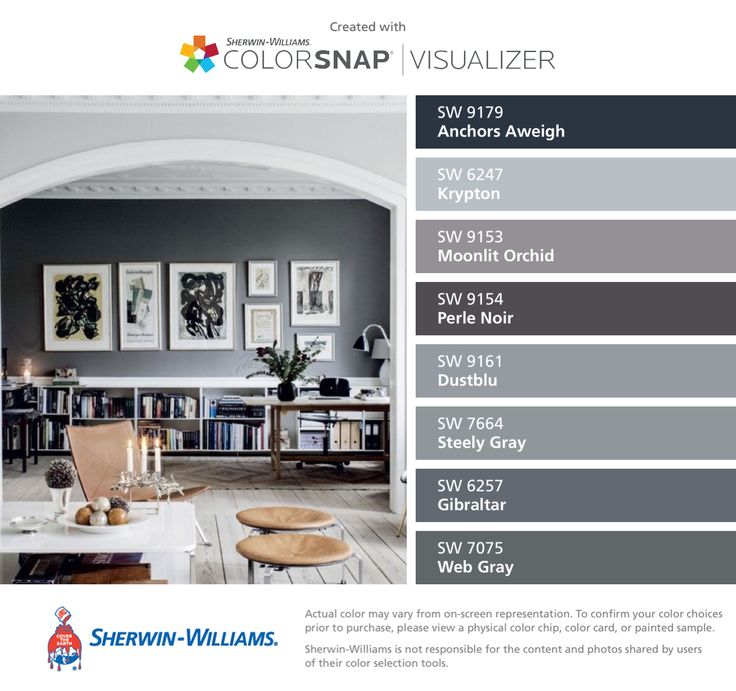 I found these colors with ColorSnap® Visualizer for iPhone by Sherwin-Williams: Anchors Aweigh (SW 9179), Krypton (SW 6247), Moonlit Orchid (SW 9153), Perle Noir (SW 9154), Dustblu (SW 9161), Steely Gray (SW 7664), Gibraltar (SW 6257), Web Gray (SW 7075).