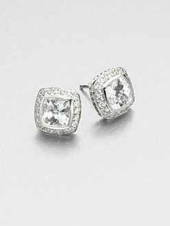 David Yurman - Diamond Accented White Topaz Sterling Silver Button Earrings: Accent White, Topaz Sterling, Fashion Earrings, Silver Buttons, Button Earrings, Sterling Silver, White Topaz, Buttons Earrings I, Diamonds Accent