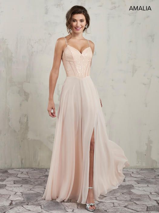 89c1400e05c Amalia Bridesmaids by Mary s Bridal MB7017 A-line bridesmaid dress features  sequin corset top with sweetheart neck line