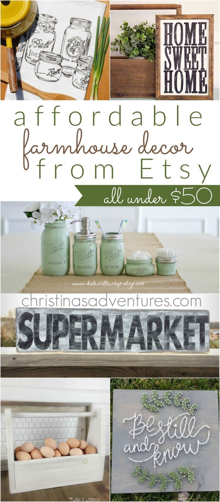 affordable farmhouse decor on etsy all under 50