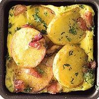 Gourmetten met Aardappelschijfjes met spek en ei