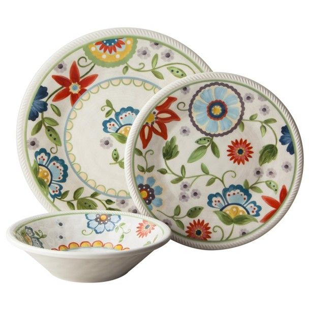 Casual meets chic!  Threshold™ Roped Vasaio Floral Dinnerware...melamine.  Perfect for picnics & camping.