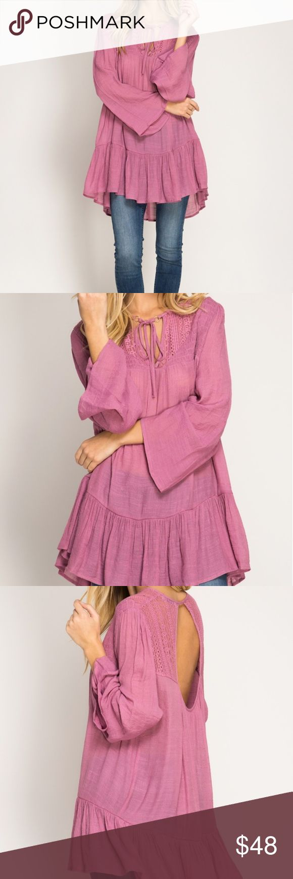 Long Bell sleeve tunic She and sky Mauve Pink long sleeve tunic top with smocking and lace yoke. Available in 3 sizes.  70%COTTON,  30%POLYESTER  WOVEN DRESS? She and Sky Tops Tunics