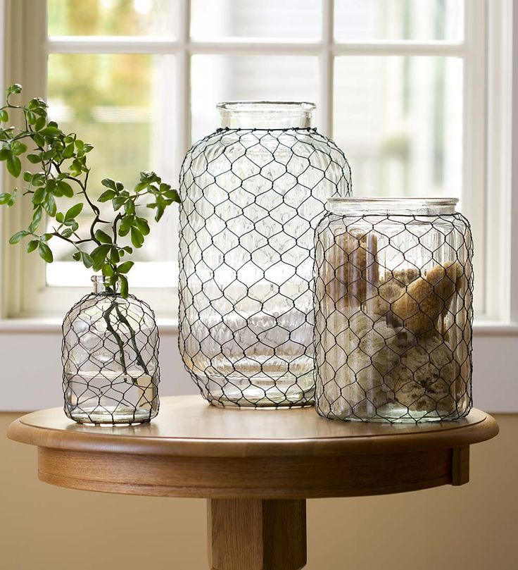 Large Pickle Jar Chicken Wire Glass Vase Collection