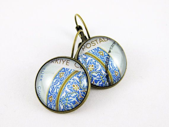 Postage Stamp Earrings / Turkish Pattern / Turkey c. by OhThePost