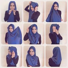 Halfmoon Hijab Tutorial- i've tried this style and the result is so cute. Recommended by me.