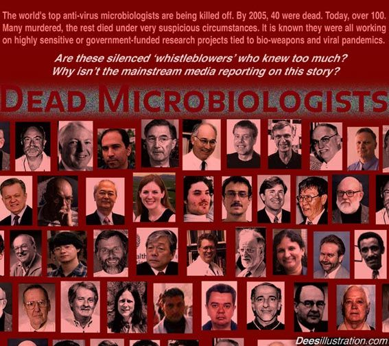 The worlds top anti-virus microbiologists are being killed off. By 2005, 40 were dead. Today, over 100. Many murdered, the rest died under v...