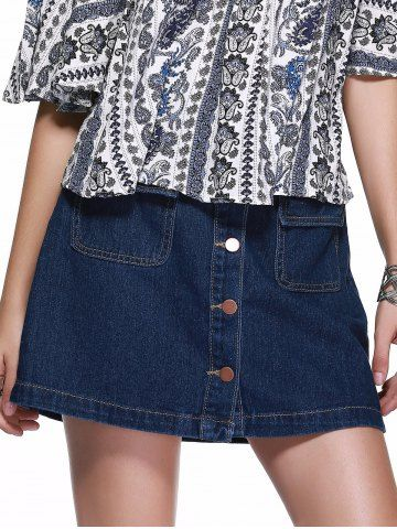$19.36 | Buttoned Flap Pockets A Line Denim Skirt For Women | Psychedelic Monk